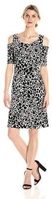 Kasper Women's Animal Spot Printed Ity Cold Shoulder Dress