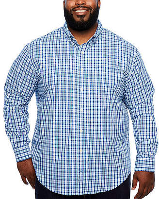 Izod Ls Premium Essentials Mens Long Sleeve Plaid Button-Front Shirt Big and Tall