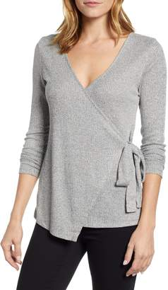 Bobeau Side Tie Faux Wrap Top