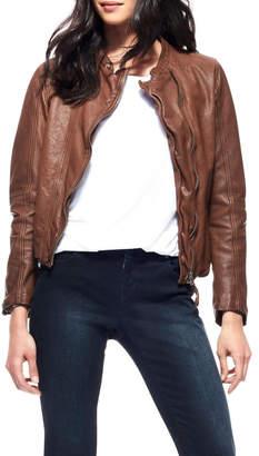Ecru Washed Leather Jacket