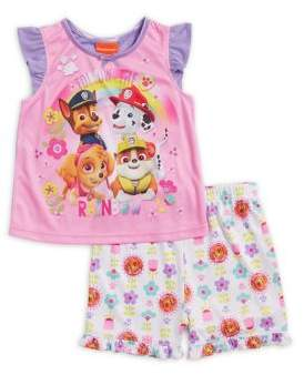 AME Sleepwear Little Girl's Two-Piece Paw Patrol Top and Shorts Pajama Set