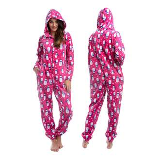 Body Candy Womens Printed Soft Hoodie Plush Onesie Critters