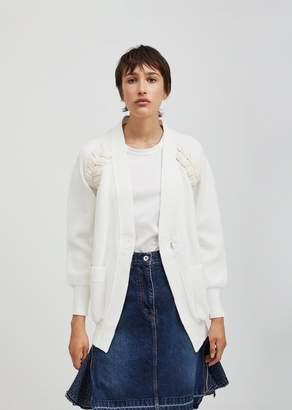 Sacai Braided Knit Cardigan Off White X Ecru
