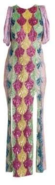 ATTICO Deco Degrade Embroidered Gathered-Sleeve Gown