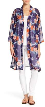 Do Everything in Love Long Chiffon Floral Print Kimono