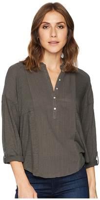 Lucky Brand Woven Gauze Mix Henley Top Women's Clothing
