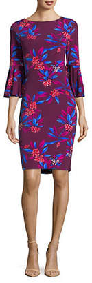 Calvin Klein Tropical Floral Print Bell Sleeved Dress
