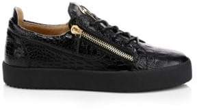 Giuseppe Zanotti Crocodile Embossed Leather Platform Sneakers