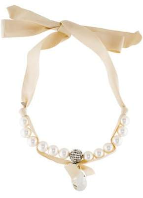 Lanvin Faux Pearl, Crystal & Ribbon Necklace