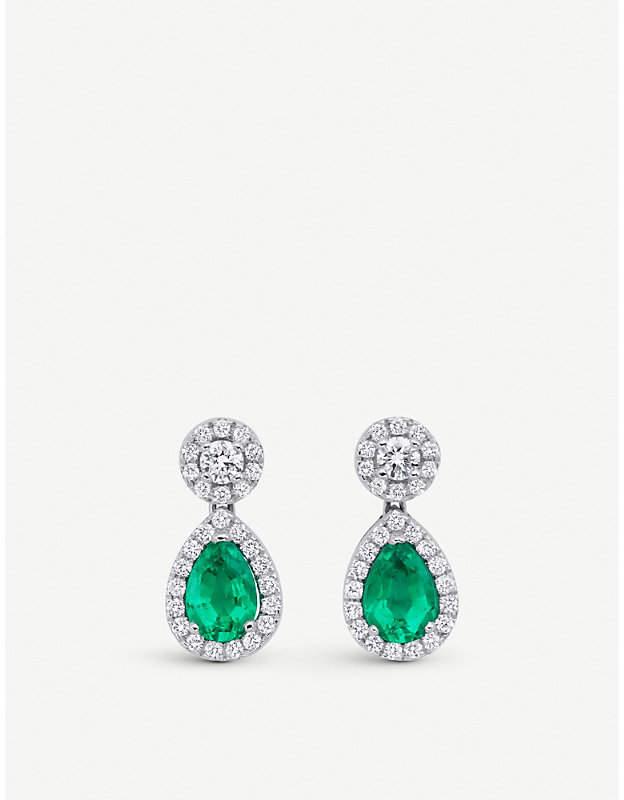 BUCHERER JEWELLERY Classics 18ct white-gold diamond drop earrings