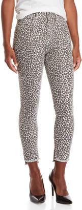 Current/Elliott Snow Leopard Super High-Waisted Step-Hem Jeans