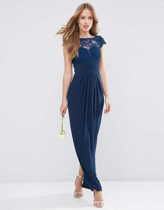 Asos Design DESIGN Bridesmaid lace top pleated maxi dress