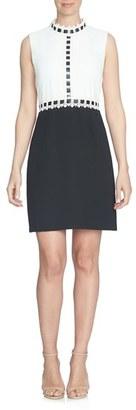 CeCe Lace & Ribbon Trim Colorblock Dress $139 thestylecure.com