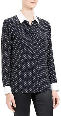 Theory Polka Dot Combo Stretch Crepe Shirt