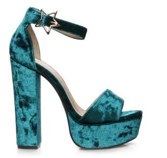 Mark and Maddux Lydio-06 Chunky Heel Women's Platform High Heel Sandals in Teal