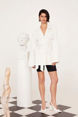 Nasty Gal Womens Take Cover Faux Leather Belted Jacket - White - 6