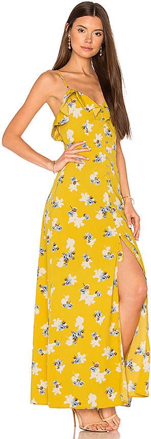 J.O.A. Flower Print Button Down Maxi in Yellow 4