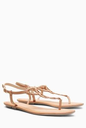 Next Womens Tan Leather Toe Post Sandals