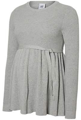 Mama Licious Mamalicious Zoe Knit Top, Light Grey