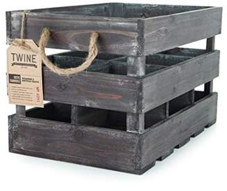 Twine Rustic Farmhouse Wooden 6 Bottle Crate by Wooden Wine Bottle Holder