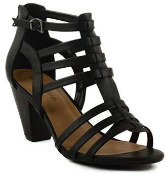 City Classified Women's Endora Tapered Block Heel with Weaved Straps & Zipped Back