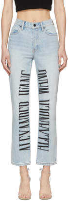 Alexander Wang Blue Logo-Embroidered Cult Jeans