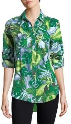 Lord & Taylor Plus Nancy Striped Leaf Cotton Button-Down Shirt