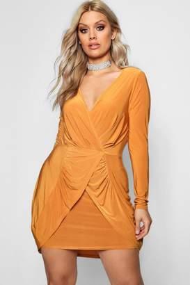 boohoo Plus Wrap Front Frill Dress
