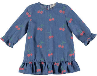 Stella McCartney Chambray Long-Sleeve Cherry-Print Dress, Size 6-36 Months