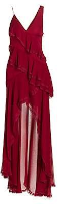 Alice + Olivia Women's Mariana Silk High-Low Ruffle Dress - Size 0