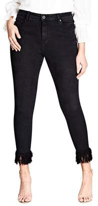 City Chic Jean Harley Overfrayed Hem Skinny Jeans