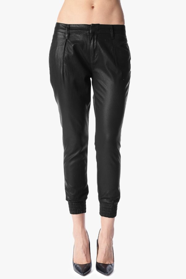 """7 For All Mankind Smocked Hem Drapey Pant In Coated Black Twill (26"""" Inseam)"""