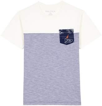 Nautica Little Boys Short Sleeve Crewneck Color Block Tee With Pocket