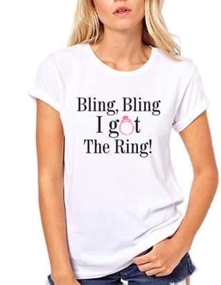 GullPrint Women's Bling Bling I Got The Ring Engagement T-Shirt
