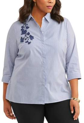 Lifestyle Attitude Women's Plus Flower Detail Button Up Shirt