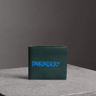 Burberry Graffiti Print Leather International Bifold Wallet
