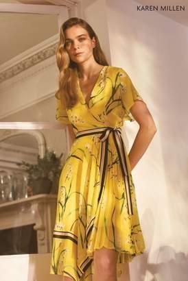 Next Womens Karen Millen Yellow Pleated Floral Midi Dress