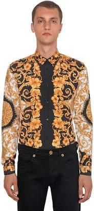 Versace Heritage Hibiscus Printed Poplin Shirt