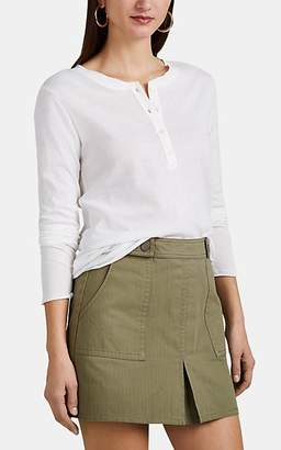 Barneys New York Women's Slub Cotton-Cashmere Long-Sleeve Henley - White