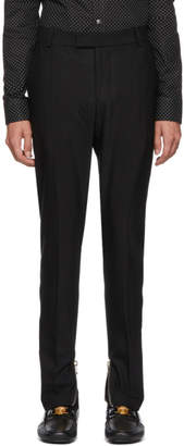 Balmain Black Wool Formal Trousers