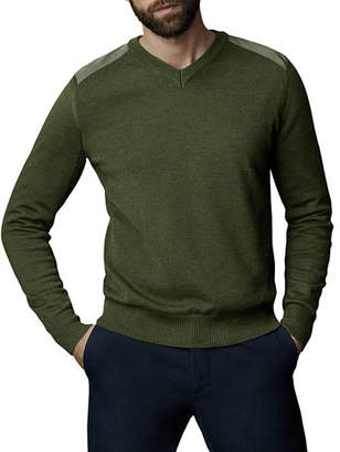 Canada Goose McLeod V-Neck Sweater w/ Nylon Shoulders