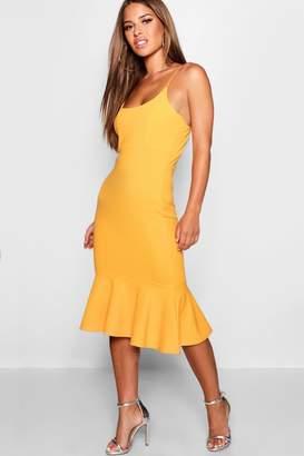 boohoo Petite Strappy Ruffle Hem Midi Dress