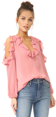 alice + olivia Gia Ruffle Cold Shoulder Blouse $225 thestylecure.com