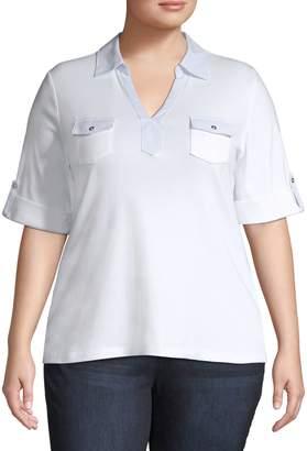 Karen Scott Plus Contrast Cotton Top