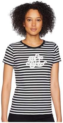 Lauren Ralph Lauren Monogram Striped T-Shirt Women's T Shirt