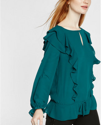 Express ruffle front blouse $49.90 thestylecure.com
