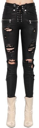 Unravel DESTROYED LACE-UP LEATHER PANTS