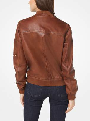 MICHAEL Michael Kors Washed Leather Bomber Jacket