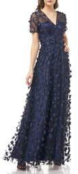 Carmen Marc Valvo 3D Flower Gown