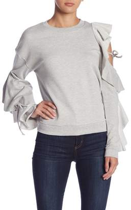 Romeo & Juliet Couture Ruffle Sleeve Knit Sweater